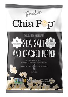 LesserEvil Chia Pop Organic Popcorn, Non-GMO, Gluten Free, Gourmet Popcorn - Healthy Snack With Chia Seeds, Salt and Cracked Pepper, 5 Ounce (Pack of 12) *** For more information, visit now