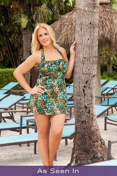 You will be right on trend with this slimming swimsuit.  The full coverage of a swim dress with the convenience of a two piece swimsuit.  High line power net briefs create a smooth and slenderizing look.  Featured by Alessandra Gonzalez on Instagram, You Tube and alessandragonzalez.com!
