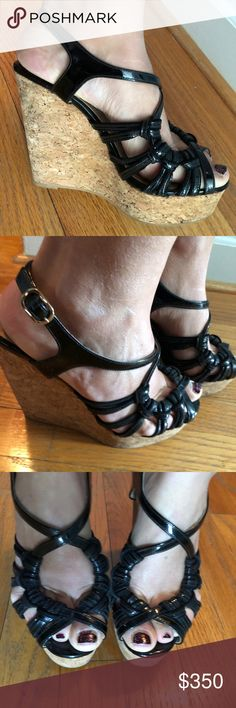 Valentino Platform black patent leather sandals Super cute and COMFORTABLE Valentino Garavani platform wedge Sandals. Look fab with any outfit, give you height, incredibly chic. Valentino Garavani Shoes Wedges
