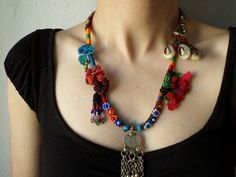 beaded #crochet statement #necklace with by irregularexpressions #etsy