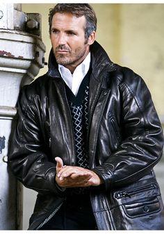 Devin, former CIA. Layne's best friend: Golden Trail: The Burg Men's Leather Jacket, Jacket Men, Leather Jackets, Hot Men, Hot Guys, Kristen Ashley, Dapper Men, Men's Wardrobe, Older Men