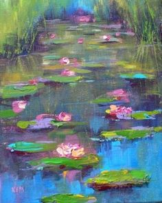 Water Lily Acrylic Painting, painting by artist Karen Margulis #OilPaintingForBeginners