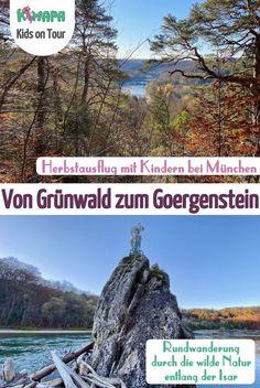 Isarwanderung von Grünwald zum Goergenstein. Eine Rundwanderung durch die wilde Natur entlang der Isar und ein idealer Halbtagsausflug (Spaziergang) für Familien in der Nähe von München. #wandernmitkindern #münchenmitkindern #spaziergangmünchen #ausflugszielemünchen #grünwaldbeimünchen #georgenstein #herbstausflugmitkindern #isarrundweg #rundwegbeimünchen #isarwanderung #herbstwanderung #familienausflug