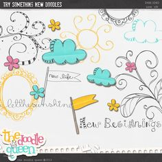 Quality DigiScrap Freebies: Try Something New Doodles freebie from The Doodle Queen