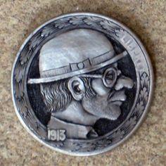 Stan 'The Owl' O'Brian, buffalo hobo nickel by Marcus Hunt Hobo Nickel, O Brian, Buffalo, Coins, Owl, Rooms, Owls, Water Buffalo