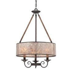 """View the Quoizel BDR2820 Bandelier 3 Light 20"""" Wide Drum Chandelier with Oyster Mica Shade at LightingDirect.com."""