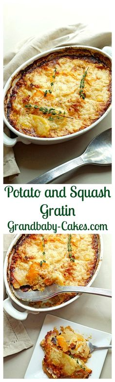 Potato and Squash Gratin.  The most incredible side dish of Potato and Squash Gratin from New Prairie Kitchen perfect for your Thanksgiving table. | Grandbaby-Cakes.com  #Thanksgiving #Family #Food #ShermanFinancialGroup