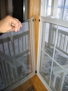 Plexiglass interior storm window for sealing old windows during the winter. (have this for bathroom window, need to make screen)
