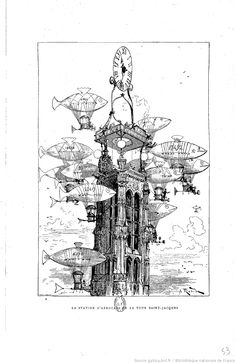 """An """"aérocar"""" station on top of Paris' Tour Saint-Jacques, according to the 1883 visions of Albert Robida of what the 20th century would be like."""