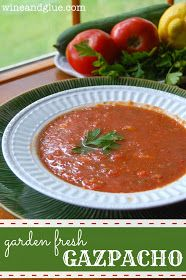 Delicious gazpacho made with all the summer veggies growing in your garden! via www.wineandglue.com