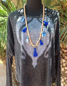 Ibiza Gypsy tassel wood bead necklace. Ocean sky by IbizaGypsy, $15.00