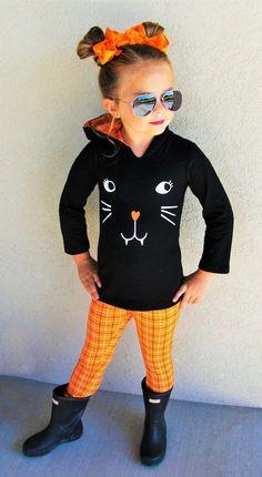 Black Cat Orange Plaid Hoodie Set | Sparkle In Pink Kids Boutique, Boutique Clothing, Plaid Hoodie, Cute Cat Face, Orange Leggings, Festival Fashion, Outfit Sets, Kids Outfits, Pink