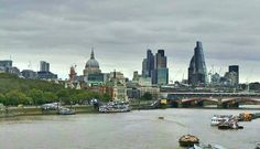 Waterloo Bridge - London, United Kingdom. The view looking down the Thames from Waterloo Bridge.