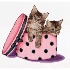 Thea Gouverneur counted-cross-stitch Kit Kitten Twins On Aida