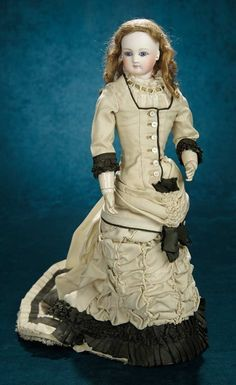 Forever Young - Marquis Antique Doll Auction: 48 Fine French Bisque Poupee with Wooden Arms and Gorgeous Original Costume