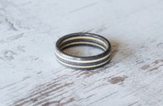 Skateboard Ring Gray Wooden Ring Wooden bands Wood Ring