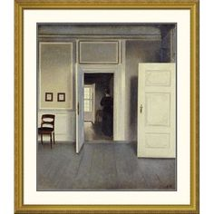"""Global Gallery 'A Woman In An Interior' by Vilhelm Hammershoi Framed Painting Print Size: 46"""" H x 39.9"""" W x 1.5"""" D"""
