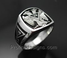 Sterling Silver Mens Masonic Scottish Rite  32nd Degree Double Eagle Ring - Original Design - 005B