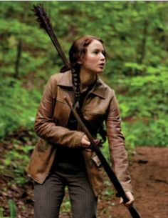 Hunger Games Brown Leather Jacket Halloween costume Available Here, Buy and Enjoy Discounted Prices and Free Shipping at Celebswear  #HungerGames #katnisseverdeen