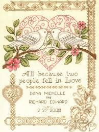 Punto De Cruz Imaginating - All Because 2571 – Stoney Creek Online Store - Model stitched on Natural Aida Cloth using DMC floss: White, 3348 and The stitch count is x with an approximate design size of x when stitched on 14 count. Everything Cross Stitch, Cross Stitch Heart, Cross Stitch Samplers, Counted Cross Stitch Patterns, Cross Stitch Embroidery, Embroidery Patterns, Hand Embroidery, Cross Stitches, Wedding Cross Stitch Patterns