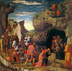 Andrea Mantegna. Adorazione dei Magi (1460-1464). Dimensioni 76 x 77 cm. Firenze, Galleria degli Uffizi