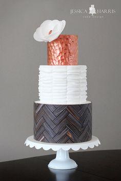 Herringbone Wood Copper Ruffle Cake by JessicaHarris - http://cakesdecor.com/cakes/208025-herringbone-wood-copper-ruffle-cake