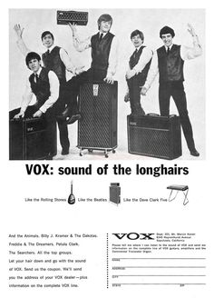 "The VOX Showroom - Vox 1965 - The Rolling Stones - ""Sound of the Longhairs"" Print Ad"