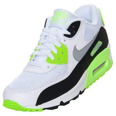 Nike Men's Air Max 90 Essential Running Shoes White/Wolf Grey/Flash Lime/