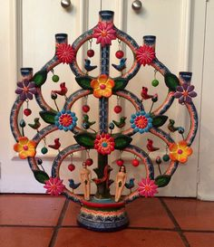 Alfonso Castillo Orta Signed Tree of Life Candelabra Mexican Folk Art Pottery | eBay