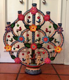 Alfonso Castillo Orta Signed Tree of Life Candelabra Mexican Folk Art Pottery | eBay