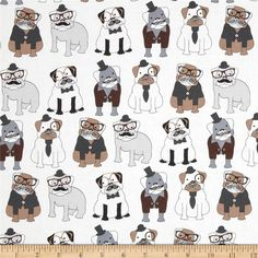 Timeless Treasures Sophisticated Pups White from @fabricdotcom  Designed for Timeless Treasures, this cotton print fabric is perfect for quilting, apparel and home decor accents. Colors include shades of grey, brown, black, and white.