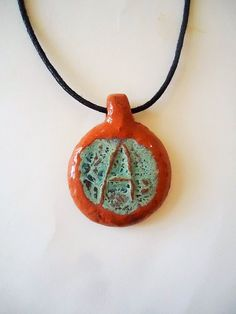 Letter A personalized pottery pendant. Rustic by ClayAna on Etsy