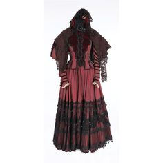 "(MGM, 1948) Dark red velvet period dress with intricate black lace overlay accented with black trim and tassels.  Designed by Tom Keogh. Worn by Gladys Cooper as ""Aunt Inez"" on Judy's wedding day in The Pirate. *My fave musical!*"