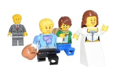 Bride and friends run away from Groom with goodies, Lego minifigure scene.  Image 1000 x 700 compressed.  Copyright © 2016 · BrickTwist.com