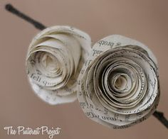 Paper flowers made from old books