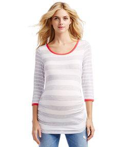 Jessica Simpson Maternity Three-Quarter-Sleeve Striped Top