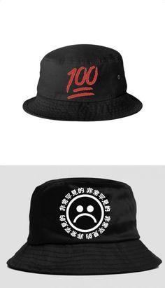 49c2ad7e 2015 New Fashion Hip Hop Street Vintage Retro Japanese Chinese Letters  Printed Sad Face Emoji Bucket Hat Brim Cap