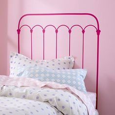 Kids' Wall Decals: Pink Wrought Iron Headboard Decal in Beds This is perfect for our small bedrooms!