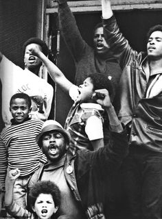 Black Panthers outside of the Fillmore Auditorium in San Francisco.