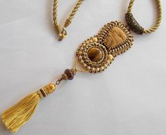 Free Shipping , Bead Embroidery, Necklace, Statement jewelry, Seed bead necklace , Christmas gift, Tiger eye, picture jasper, tassel, by vicus. Explore more products on http://vicus.etsy.com