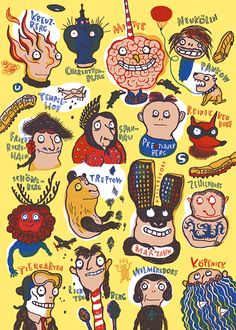 """Die preisgekrönte Kinderbuch-Illustratorin Nadia Budde hat die dritte tip-Siebdruck-Edition gestaltet: """"Die Kiezköpfe""""."""