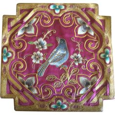 Vintage Chinese Burgundy Silk Embroidered Blue Bird Panel  #Bohemian #ShabbyChic #rubylane