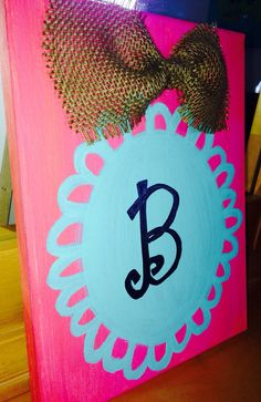 Personalized Letter canvas by paintedhartstrings on Etsy