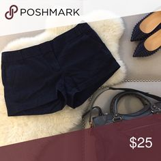 """Navy 3"""" J. Crew Chino J. Crew navy 3"""" chino shorts! Pair them with the pink silk blouse in my closet or go casual with neutral tee! Shorts"""