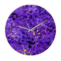 Purple Confetti Hearts Wall Clock by Lee Hiller #Purple
