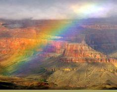 rainbow over grand canyon