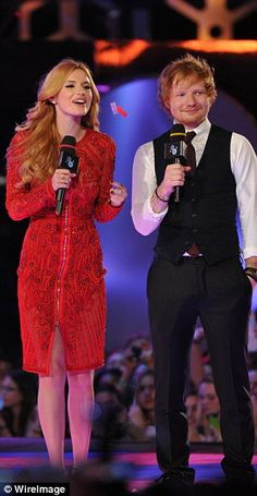 Taking to the stage: Bella joined British singer/songwriter Ed Sheeran, who was on hosting...