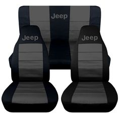 Jeep wrangler TJ front+back car seat covers solid black-charcoal w/Jeep,SO COOL in eBay Motors   eBay