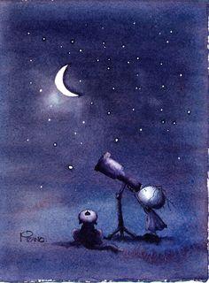 "Illustration Friday: ""Night"" (watercolor just watercolor) Sun Moon Stars, Sun And Stars, Look At The Moon, Moon Illustration, Moon Pictures, Good Night Moon, Moon Magic, Beautiful Moon, World Of Color"