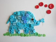 DIY button elephant art // busted button